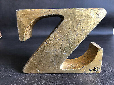 RARE Curtis Jere Z Bookend Heavy Metal Signed Dated 1968 Mid Century MCM