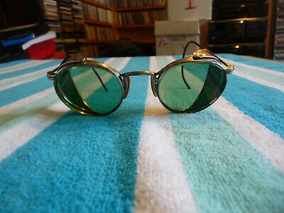 Vintage 1930'S American Optical Aom Welding Glasses/Goggles Green Lens Steampunk