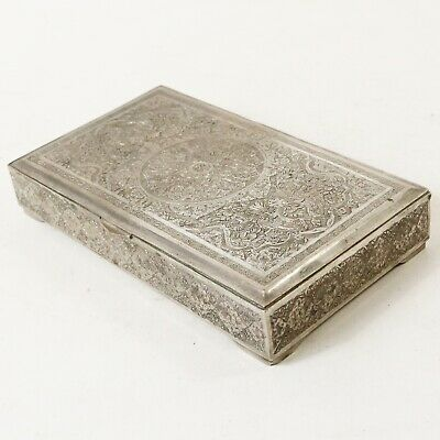 Vtg Persian Hallmarked Silver Hand Crafted Jewelry Cigar Cigarette Box