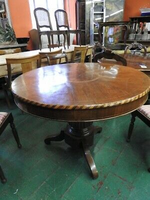 Antique Table round Carlo x in Walnut Inlaid Classic Nineteenth Century