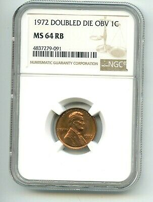 1972-P DOUBLE DIE OBVERSE Lincoln Memorial Cent (MS 64 R/B) NGC RARE!!