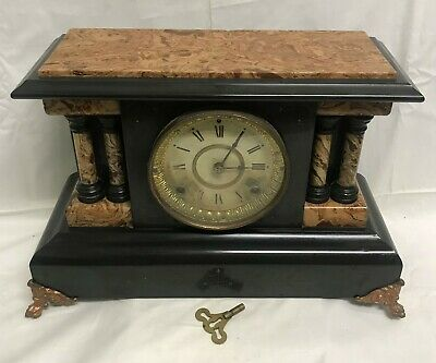 Antique 1880 Seth Thomas Adamantine Mantle Clock Paper Label Chime Key Running
