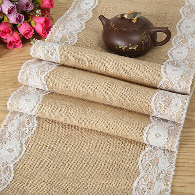 5/10/20 Rustic Burlap Hessian Lace Floral Table Runner Wedding Party Home Decor