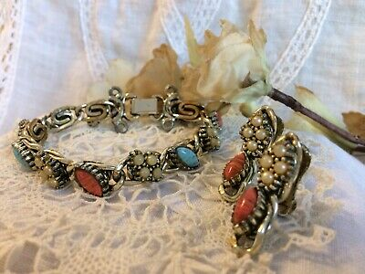 Antique Victorian Bracelet & Earring Set. Turquoise, Coral, Seed Pearl. 1910's