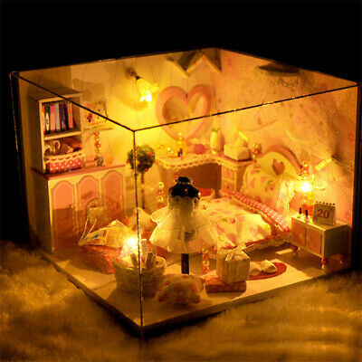 DIY LED Lights Miniature Loft Dollhouse Kit Mini 3D Wooden House Room Gift