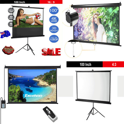 "100""Projector Screen Electric HD TV Motorised/Manual/Tripod Theatre Projection"