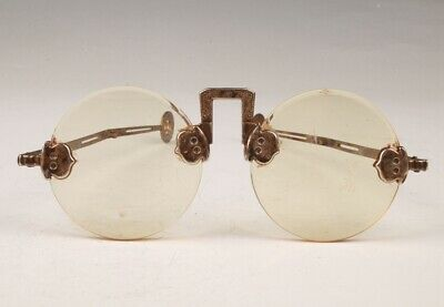 Rare Chinese Glass Copper Handmade Sunglasses Old Collection Men Gifts