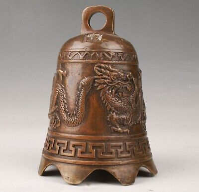 Rare Chinese Bronze Hand Carving Dragon Statue Bell Pendant Old Collection