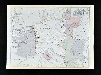 West Point WWII Map Allied Advances in 1944 France Germany Balkans Russia Italy
