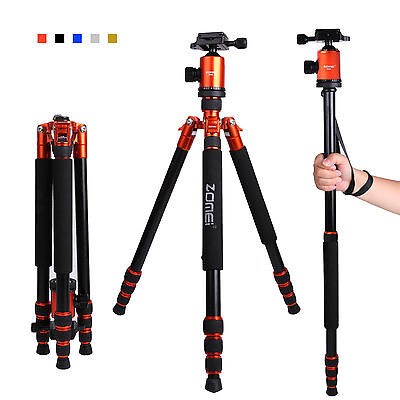 Professional Portable Aluminium Tripod Monopod & Pan Head Travel For DSLR Camera
