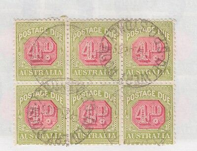 AUSTRALIA  SG D98 4d Postage Due Block of 6 perf 11 FINE USED