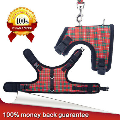 Plaid Small Dog Harness and Leash Set  Adjustable Pet Safe Control Training