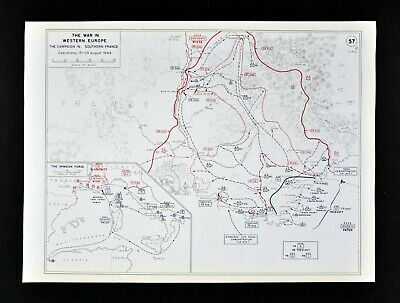 West Point WWII Map Allied Invasion South France Battles of Marseilles & Toulon