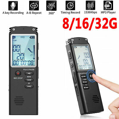 8/16/32GB USB Digital Sound Voice Recorder Dictaphone MP3 Player Rechargeable AU
