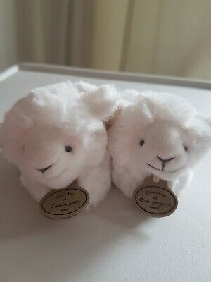 Doudou Et Compagnie Baby New Born Rattle Slippers Booties - Lamb -