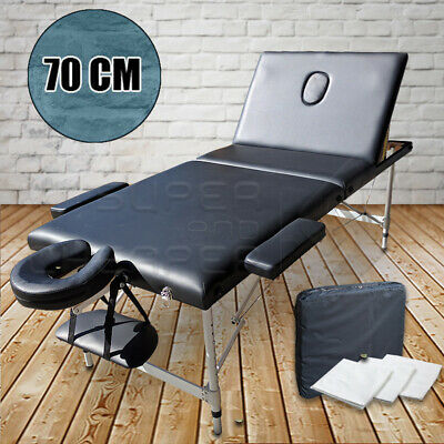 Portable Aluminium Black Massage Table 3 Fold Bed Therapy Waxing 70cm