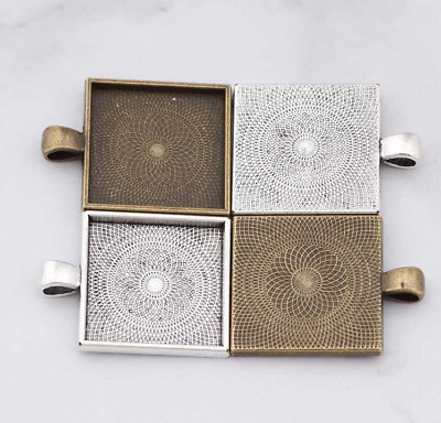 10PCS alloy gemstone Cabochon Settings square Trays Base Accessories 25mm DIY