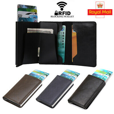 Men Leather Credit Card Holder Metal Purse Antitheft Wallet RFID Blocking Pop-up