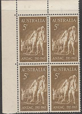 AUSTRALIA 1965 5d  ANZAC MINT UNHINGED Corner Block of 4