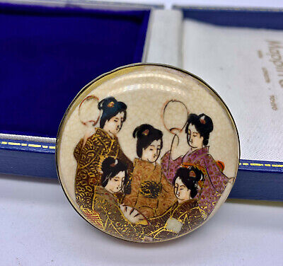 Antique Japanese Satsuma Geisha Girls Meiji Shimazu Crest Brooch/Pin