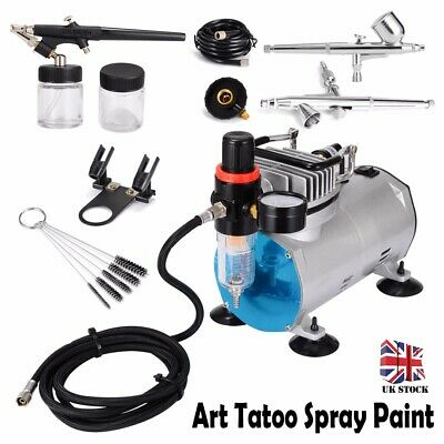 Airbrush Compressor Kit TC90T 3.5L Tank 2 Power Levels 130 Dual Action Airbrush