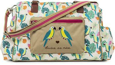 Pink Lining TWICE AS NICE CHANGING BAG - PARROT CREAM Baby Changing BN
