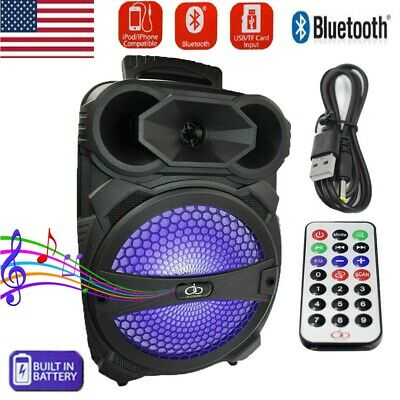 """8"""" Party Bluetooth Speaker System Led Portable Stereo Tailgate Loud Rechargeable"""