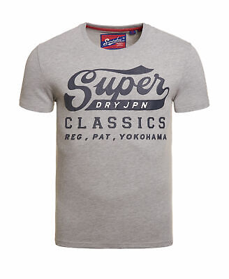 New Mens Superdry Classics T-Shirt Grey
