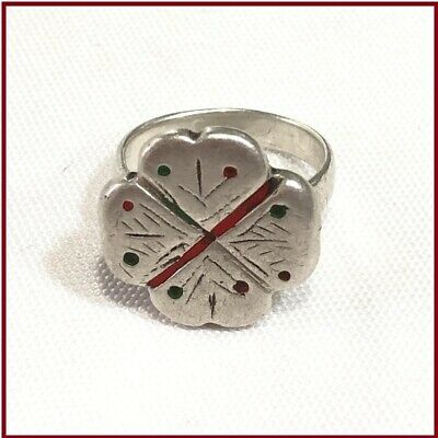 Vintage Old Antique Handmade Moroccan Silver Ring Tribal Ethnic Jewelry Boho Sz6