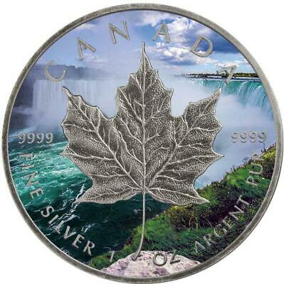 Canada 2018 5$ Maple Leaf Niagara 1 Oz 9999 Silver Antique Finish+Colouring Coin