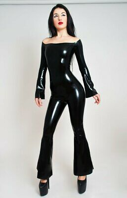 Latex Catsuit Rubber Gummi Bell-Bottomed Jumpsuit Party Dress Customized 0.4mm