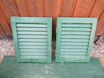 """VINTAGE Old 2 SHUTTERS Wooden 15"""" long x 19"""" Wide Architectural Salvage #1"""