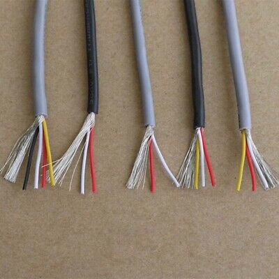 2/3/4/5-Cores UL2547 PVC Wire Shielded Signal Cable 22/24/26/28 AWG  Black/Grey