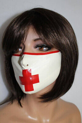 Latex Catsuit Rubber Hood Gummi Cool Red Cross Respirator Masks Customized 0.4mm