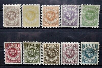 GERMANY - MEMEL (Lithuania) -1923 Coat of Arms Complete Set of 10 - MH