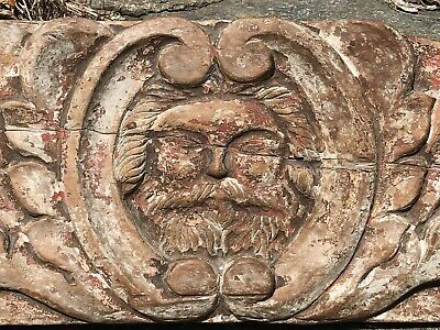 Antique Wood Carved Panel Face Bearded Man 18thc? 19thc? Architectural Oak?