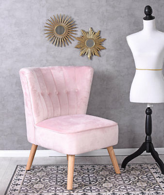 Samt Sessel Rosa fifties Stuhl Kaminsessel Retrosessel Hollywood Polsterstuhl