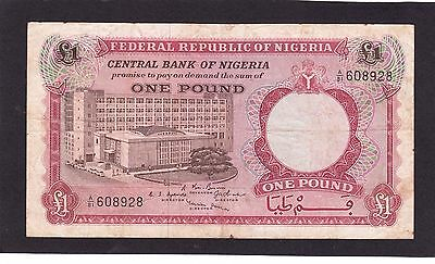 NIGERIA 1 POUND 1967  P 8 3RW 29 NOV VF CONDITION