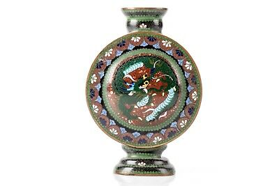 Antique Late 19th/Early 20th C. Chinese Enamel On Copper Cloisonne Moon Flask