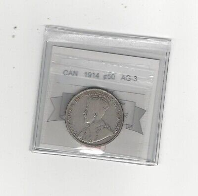 **1914** Coin Mart Graded Canadian, Fifty-Cent Coin **AG-3**