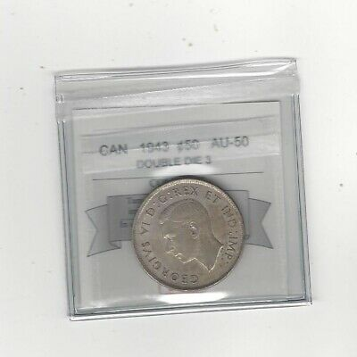 1943 Double Die 3  Coin Mart Graded Canadian, Fifty-Cent Coin **AU-50**