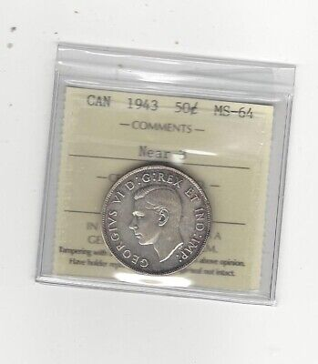 1943 Near 3  ICCS Graded Canadian, Fifty-Cent Coin **MS-64**