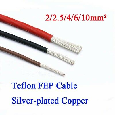 2/2.5/4/6/10mm² FEP/F46 Silver-plated Copper Cable Stranded Wire 200°C 7-Colour