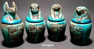 ANCIENT EGYPTIAN ANTIQUE STATUE Sons of Horus 4 Canopic Jars 1550 BC