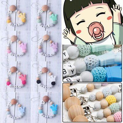 Baby Crochet Beads Pacifier Clip Silicone Wooden Soother Chains Nipple Teether