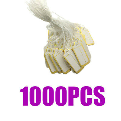 1000xGolden Edge Blank Price Tags Paper Cards with String Label Pricing