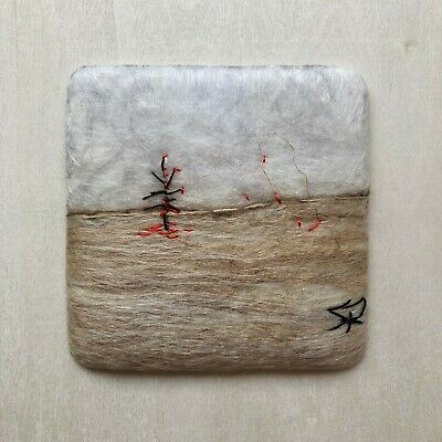 Felted Mini Wall Hanging by Sanna Rahola, Canadian Landscape, 8 x 8