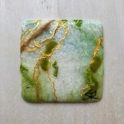 Felted Mini Wall Hanging by Canadian Artist Sanna Rahola, In The Treetops, 8 x 8