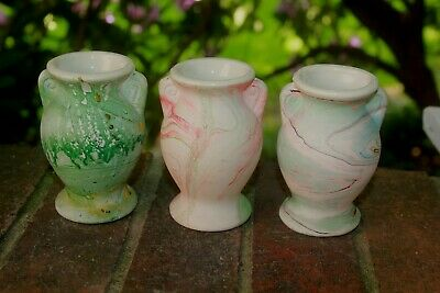 "3 1930s Morton Pottery ""End of Day"" Swirled/Marbled Miniature Vases"