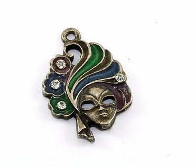 "Vintage Venetian Enameled Mask Cz Inlay Pendant 1 1/8"" 925 Sterling Pd 482"